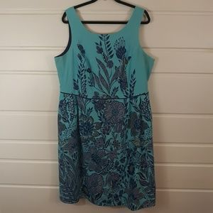 Land's End Blue Floral A-Line Sleeveless Dress